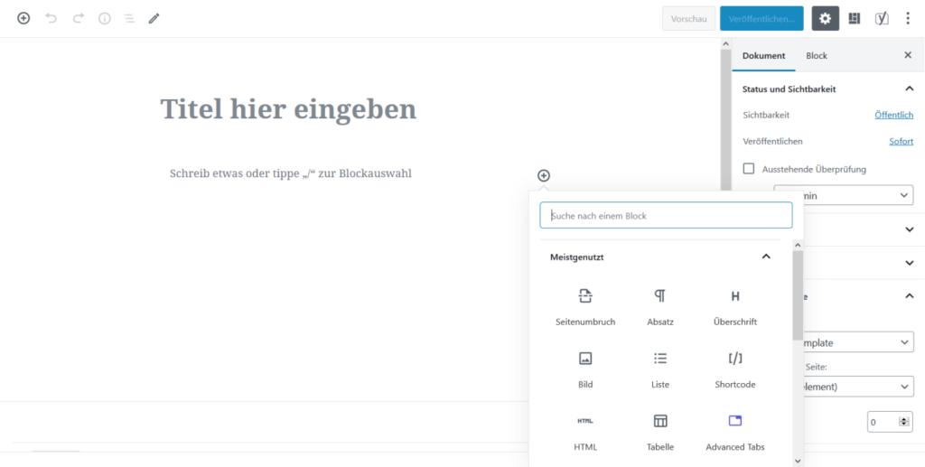 Gutenberg-Editor mit Standard-Blöcken und Advanced Blocks