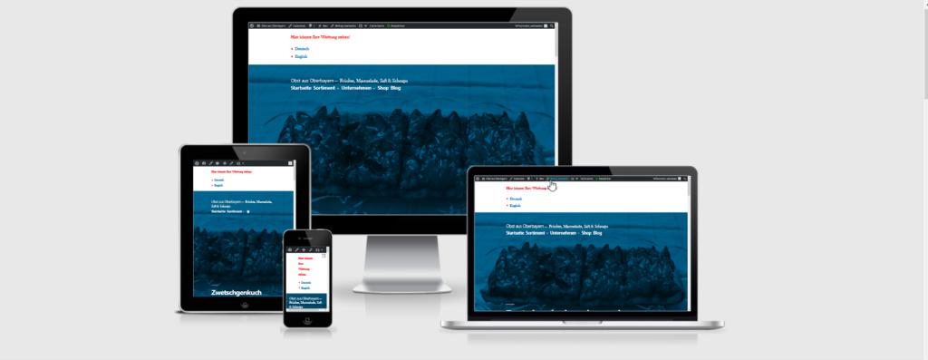 Responsive Design mit WP Twenty Nineteen visualisiert mit dem Online Tool Am I responsive